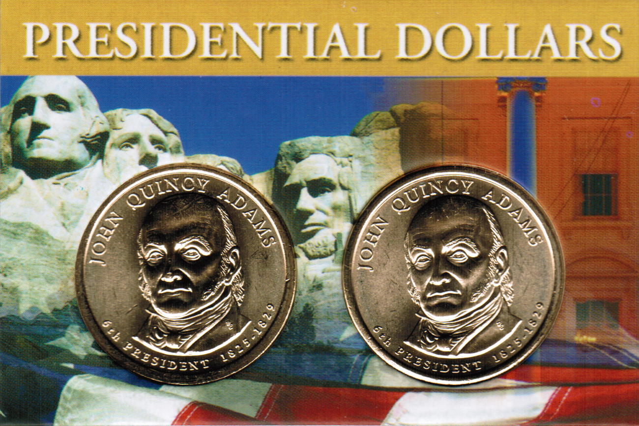 Primary image for 2008 John Quincy Adams Presidential Dollar 2 coin set with holder CP4205