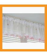 pink beads valance curtain sheer window kitchen... - $17.00