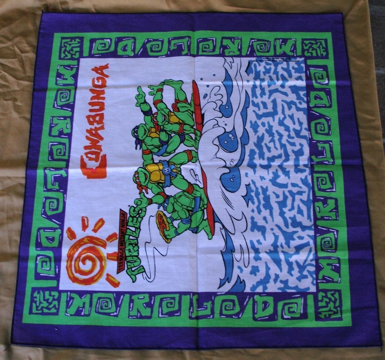 Vintage Teenage Mutant Ninja Turtle Bandana Scarf Cowabunga!
