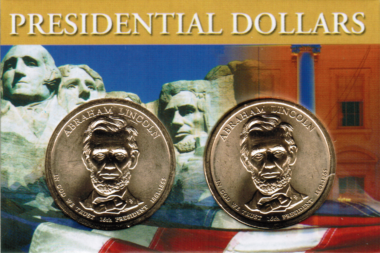 Primary image for 2010 Abraham Lincoln Presidential Dollar 2 coin set with holder CP4215