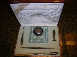 Antique Fine Silver Writing Set with Inkwell in Box Rare......... - $775.00