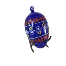 """Art Glass Hand Painted Blown glass  Christmas Ornament Egg Shaped 3"""" - $12.50"""