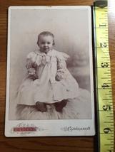 Cabinet Card Cute Baby Girl White Lace Dress on Fur Rug Studio Art Ohio 1860-80! - $10.00