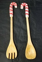 """Candy Cane Handle Wooden Salad Utensils Fork & Spoon 14.5"""" Christmas Hol... - $13.54"""