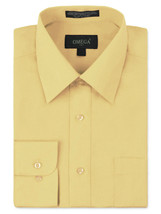 Omega Italy Men's Long Sleeve Solid Regular Fit Light Yellow Dress Shirt - L