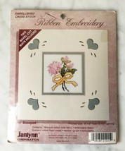 "Janlynn Bouquet RIbbon Embroidery Embellished Cross Stitch Kit 6""x6"" New... - $9.45"