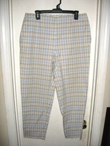 Talbots Woman White Brown Aqua Plaid Capri Pants Stretch Plus Size 12W - $19.59
