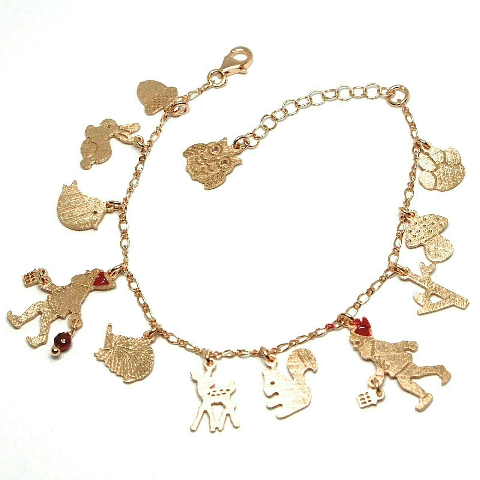 Bracelet en Argent 925, Lapin, Écureuil, Faon, Hérisson, Hibou, le Favole