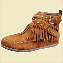 Mountain Moccasins Tassel Fringe Rivet Strap Hand Sewn Clay Color Ankle Boots  image 2