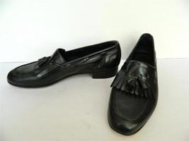 Salvatore Ferragamo Loafer Shoes Kiltie Tassel Black Leather 10 1/2 D - $69.30