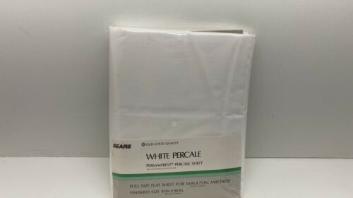 Primary image for Vtg Sears White Percale Perma Prest Pecale Sheet Full Size