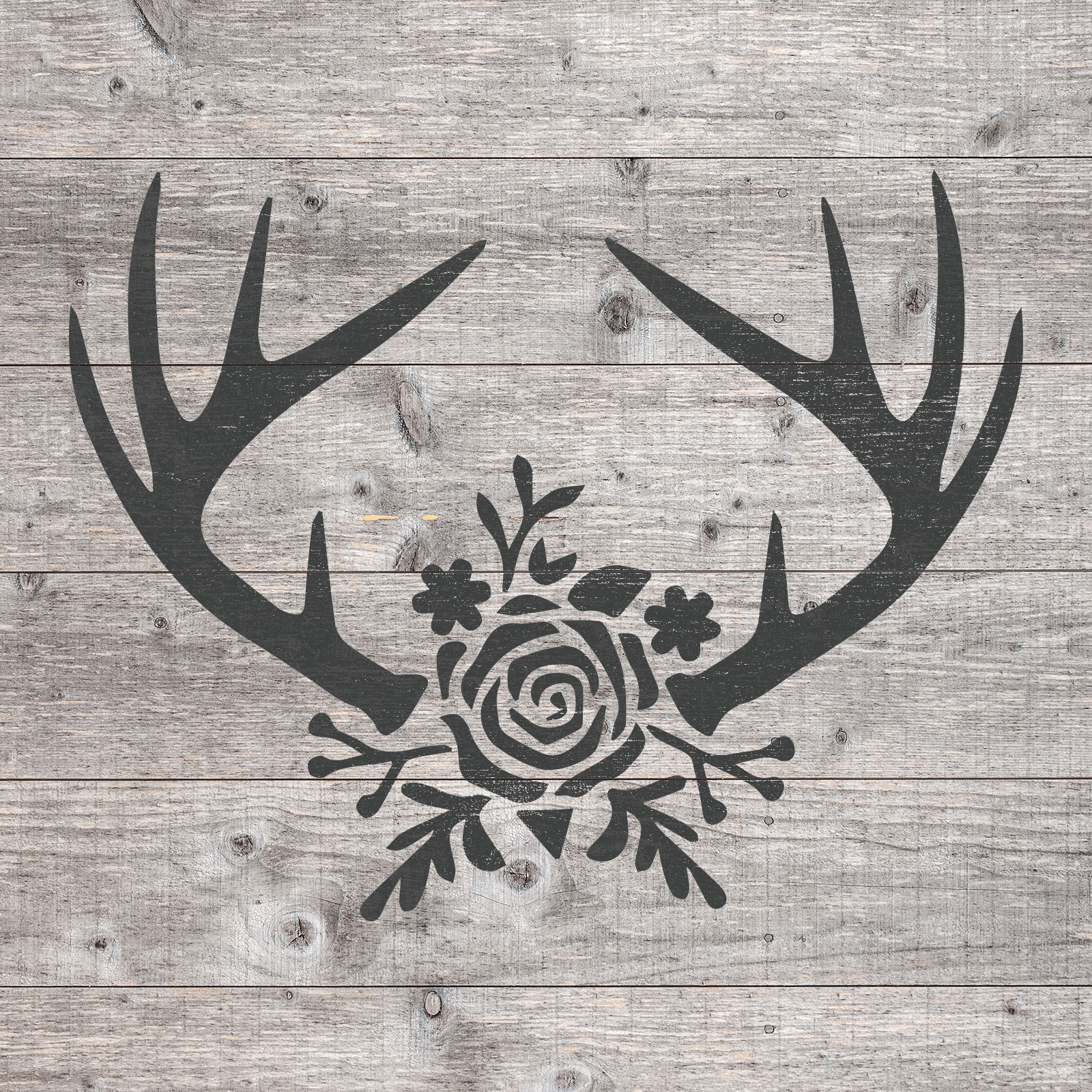 Rose Antlers Stencil - Reusable Stencils of Rose Antlers in Multiple Sizes