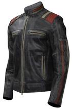Cafe Racer Vintage Motorcycle Distressed Black Retro Slimfit Leather Jacket image 3