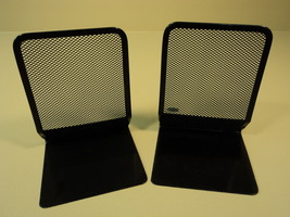 Eldon Book Ends Set of 2 7in H x 5in W x 5in D Black Mesh Metal - $16.04