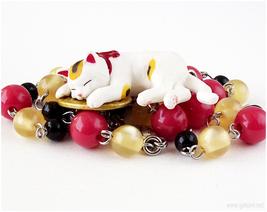 Maneki Neko Figurine Necklace, Japan, Waloli, Handmade Jewelry, Cat Lovers - $26.00