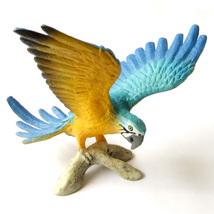 Flying Macaw Blue Yellow Parrot Lifelike Bird Fairy Garden Terrarium Dec... - $10.99
