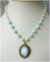 Rose Cameo Necklace, White and Teal Beaded Pearl Chain in Gold - Sweet Lolita image 2