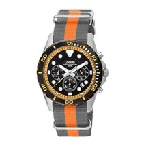 Lorus Men's Watch Stainless Steel Textile Band Chronograph Black Dial RT... - $141.79