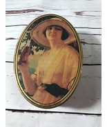 Coca Cola Collectible Tin W/Lid Woman With A Hat Width 4 Inches Length 6... - $6.80