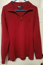Polo Ralph Lauren 1/4 Zip Pullover Sweater Shirt Red Embroidered Logo Si... - $17.46