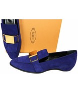 $795 TOD'S Violet Suede Loafers Gold Buckle Pumps Gold Logo Shoes 41 - $169.00