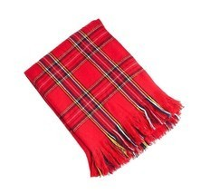 "Woven Checkered Red Throw Blanket with Fringes, 50""X60"", New - $24.99"