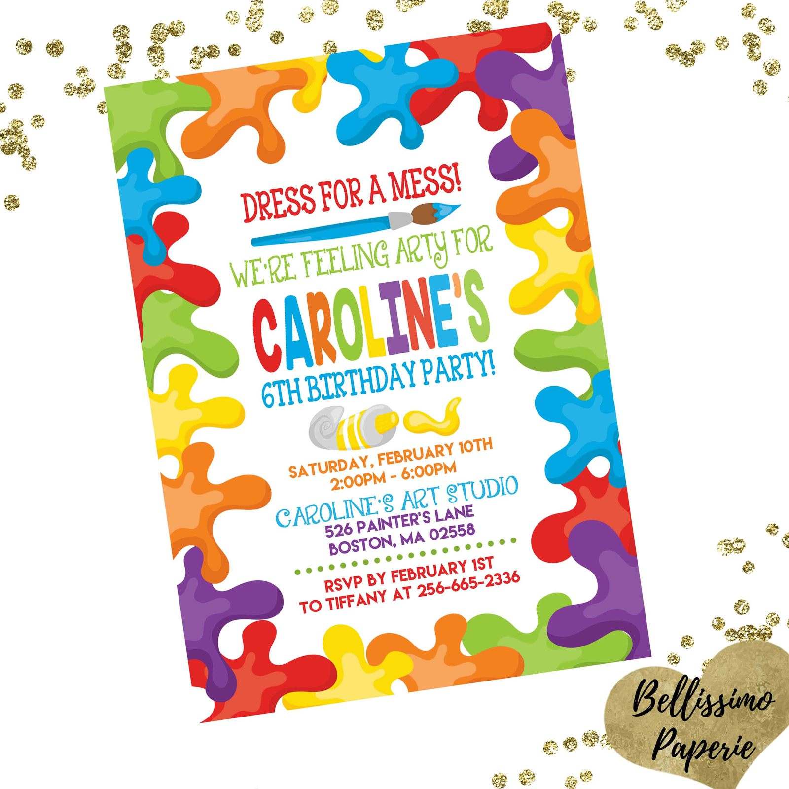 Art party birthday invitation paint party and 47 similar items art party birthday invitation paint party invitation personalized custom stopboris Images