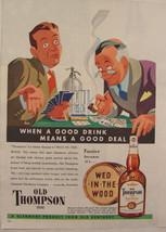 1948 Glenmore Old Thompson Whiskey HENRY HEIER Art CARD PLAYERS Print Ad - $9.99