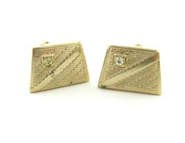 Trapezoid CUFFLINKS Rhinestone MEN'S Vintage Diagonal Lines Cuff Links Goldtone - $10.99