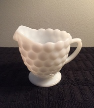 Vintage 70s Milk Glass bubble pattern creamer image 1