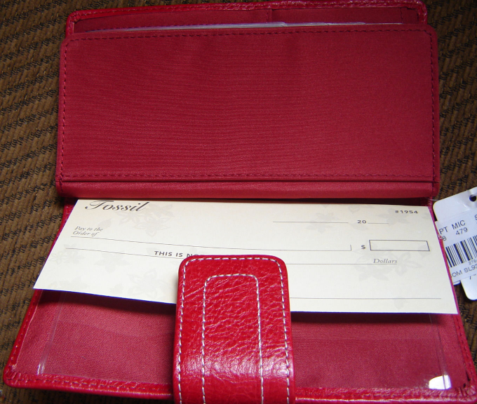 FOSSIL WOMEN'S 1 WALLET GENUINE 100%LEATHER RED/BLACK MULTI STRIPED NEW image 3