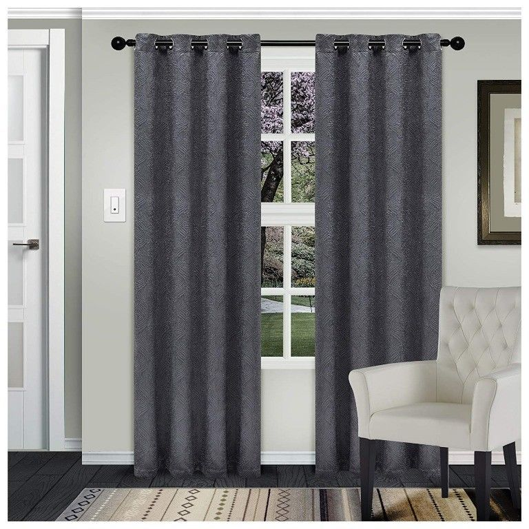 Superior Waverly Gray Embossed Wave Blackout Insulated Grommet Curtains 2 Panels - $43.51 - $43.95