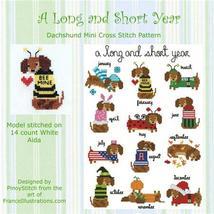 Dachshund A Long and Short Year Round Collection cross stitch chart Pinoy Stitch - $10.80