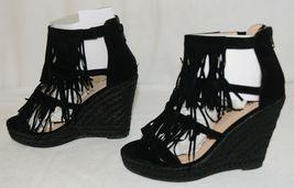 BF Betani Shiloh 8 Black Fringe Wedge Heel Sandals Size 6 And Half image 3