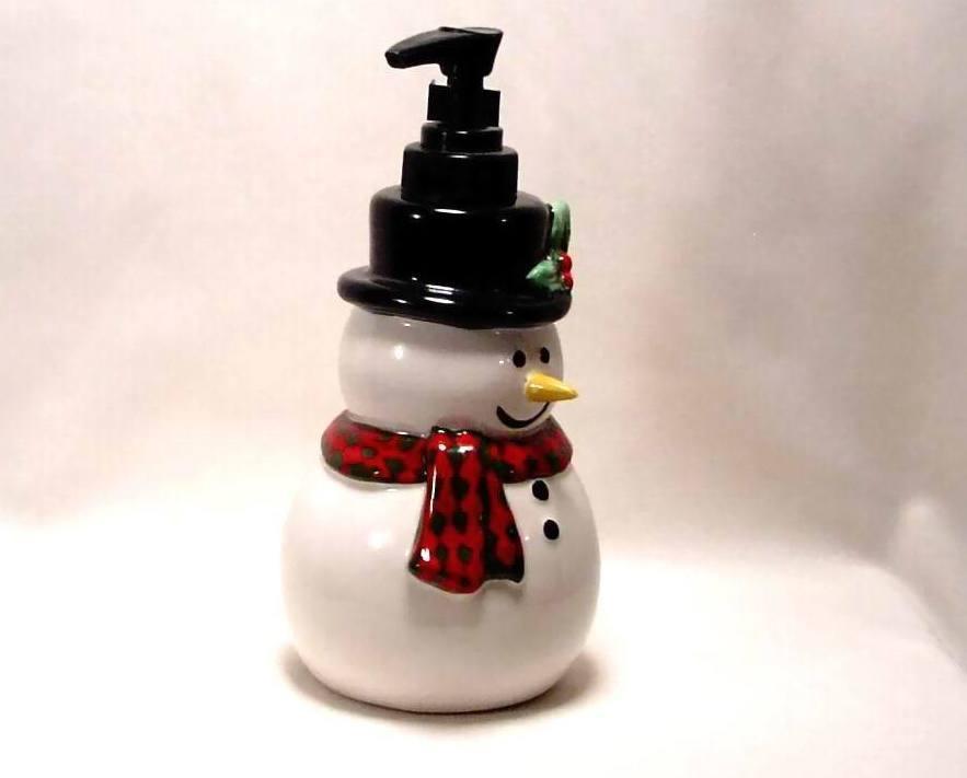 Ceramic Snowman Lotion Soap Pump Dispenser Christmas ...