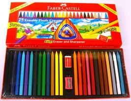 Faber-Castell  25 Erasable Plastic Crayons  Assorted Shades  110 mm each image 2
