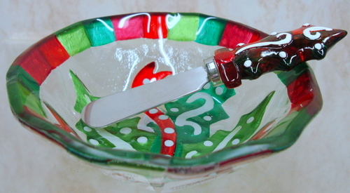 Glass Fusion Holly Bowl w/Spreader by Demdaco, New in Box