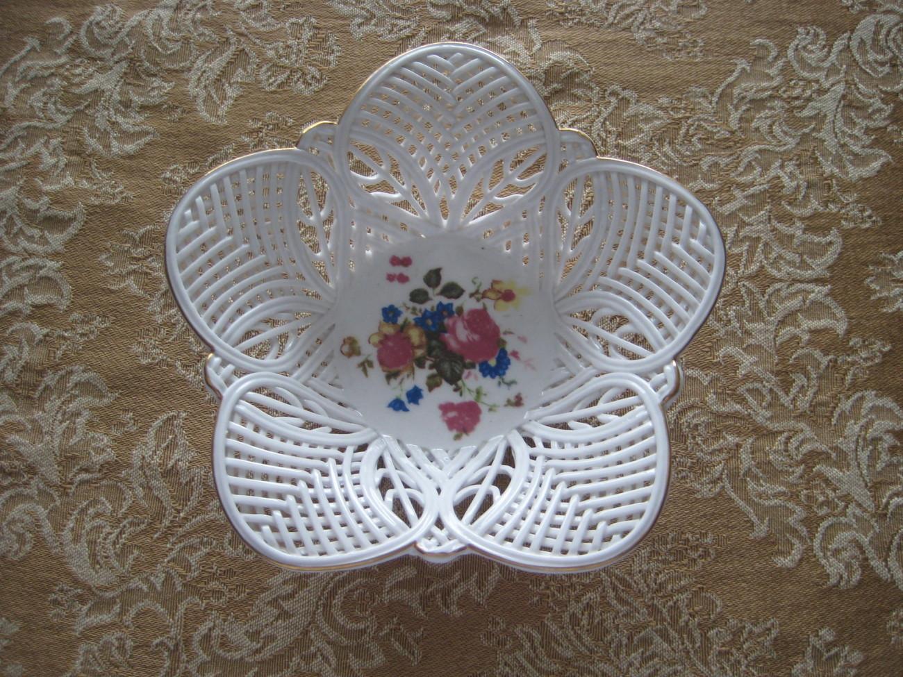 Vintage White Porcelain Lace Bowl