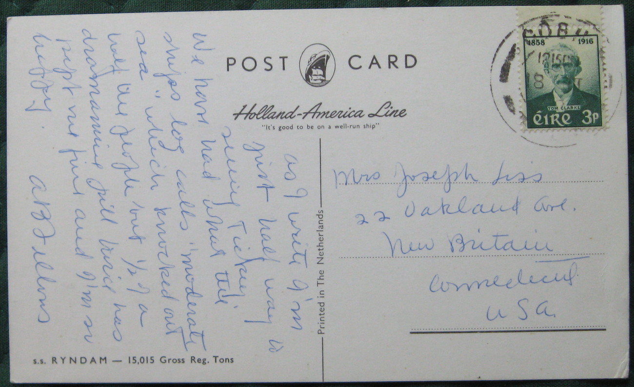 Holland-America Line, full bleed post card, SS RYNDAM, 1950