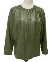 Women's Denim & Co Faux Leather Olive Green Jacket Zip Front Zip Size L - $19.70