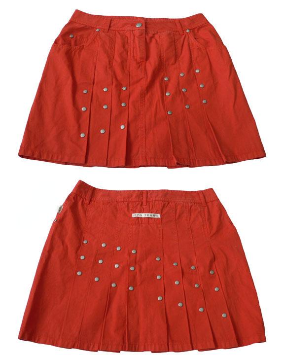 NEW JEAN PAUL GAULTIER JPG mini skirt orange jeans 44 Jean Paul Gaultier