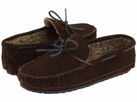 Minnetonka Mens Casey Chocolate Suede Faux Fur Lined Moccasin Slippers S... - $34.64