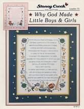 Why God Made Little Boys & Girls L071 cross stitch chart Stoney Creek image 1