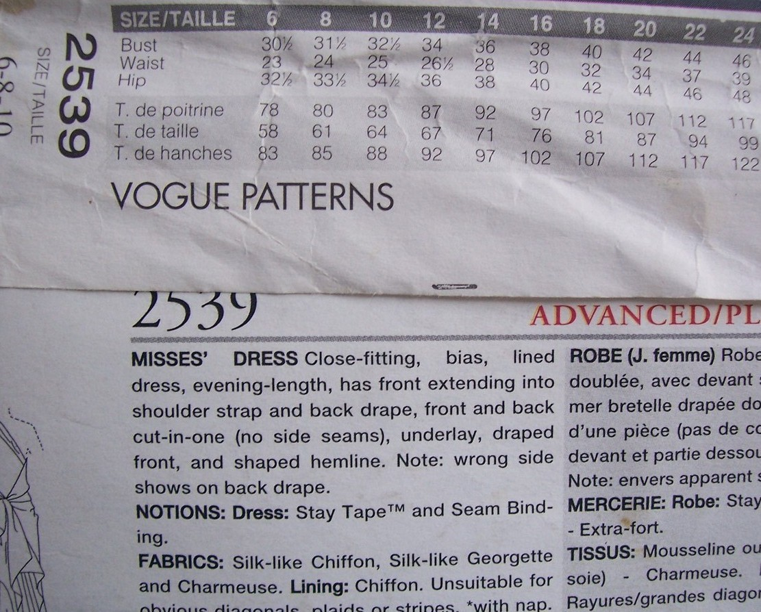 Vogue American 1690 Kasper Garden Wedding Dress Label 10