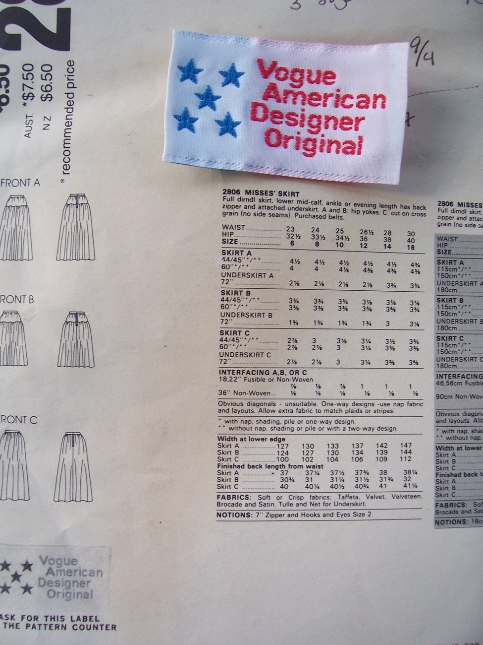 Vogue American Design 2806 Oscar Evening Skirts Label 12