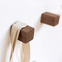 HoneiLife Coat Hooks Wall Mounted - Solid Wood Coat Rack Square Wall Mou... - $14.24