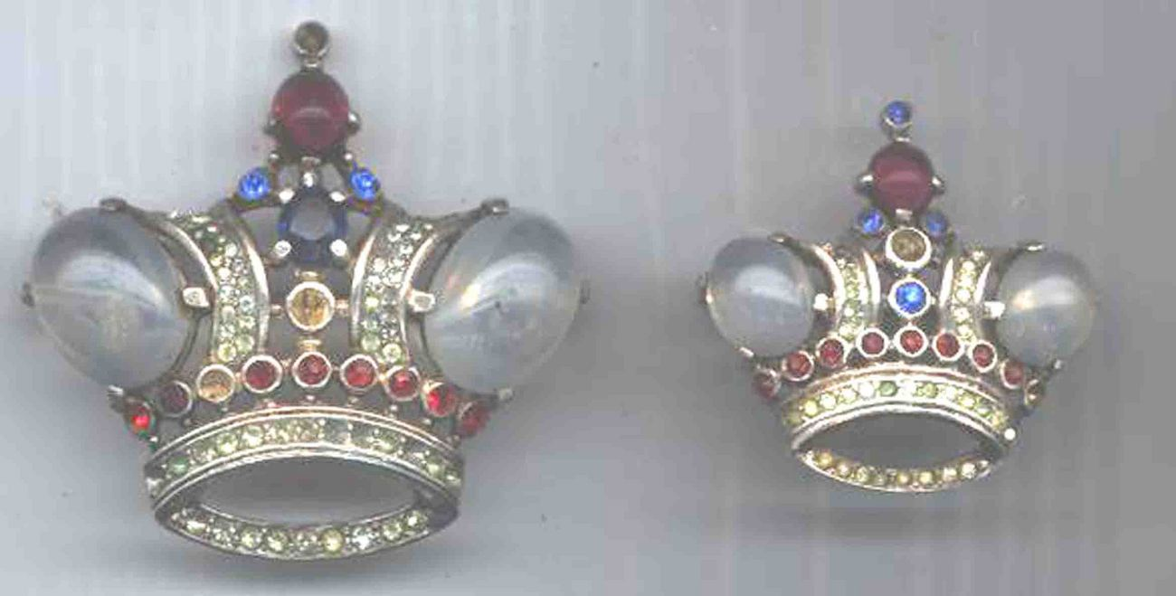 2 VINTAGE HUGE CROWN TRIFARI STERLING CROWN PIN/ BROOCH