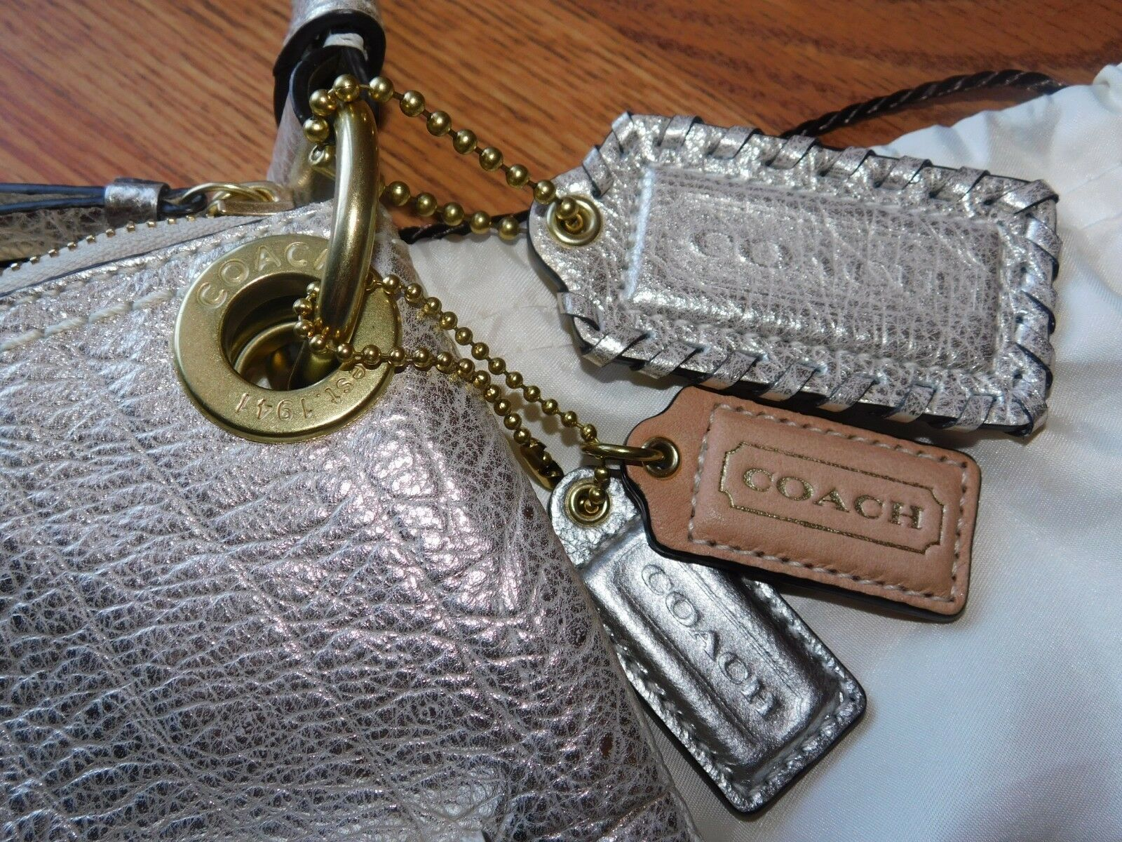 Coach Poppy Metallic Leather Whipstitch Hippie Convertible Bag 19014 Platinum