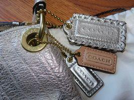 Coach Poppy Metallic Leather Whipstitch Hippie Convertible Bag 19014 Platinum image 3