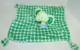 Carters Elephant plush Green Polka Dots Rattle Security Blanket Blue Satin  - $11.57